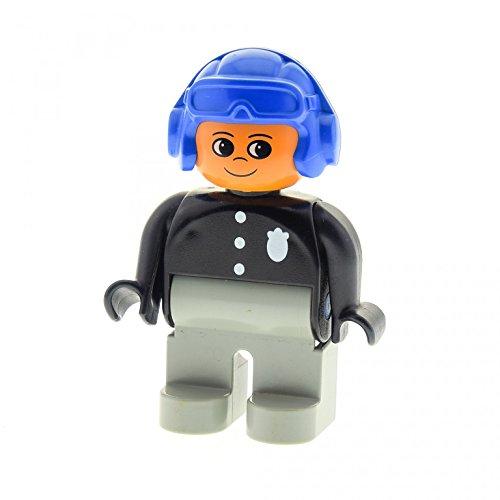 1 x Lego Duplo Figur Mann Polizist Hose alt-hell grau Hemd schwarz mit Polizei Marke Flieger Mütze Helm blau Motorrad Fahrer 4555pb063