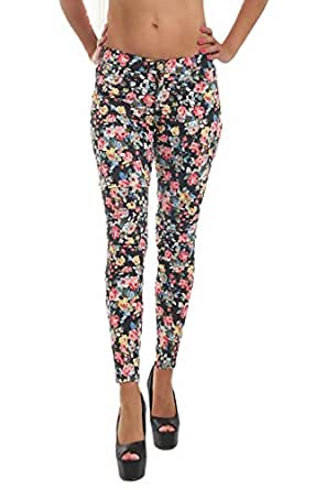 10038 Fashion4Young Damen Printhose Blumenhose Hose Stretch-Stoff verfügbar in 6 Größen 4 Farben (42, Schwarz Multicolor)