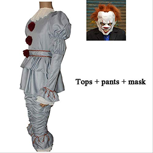 Kostüm Clown Stadt Party - WSCOLL Clown Stephen King 's It Cosplay Kostüm Pennywise Kostüm Erwachsene Männer Frauen Kostüm Fancy Halloween Outfit Anzug Clown-Kostüm, 3pcs Light Grey, XXX-Large