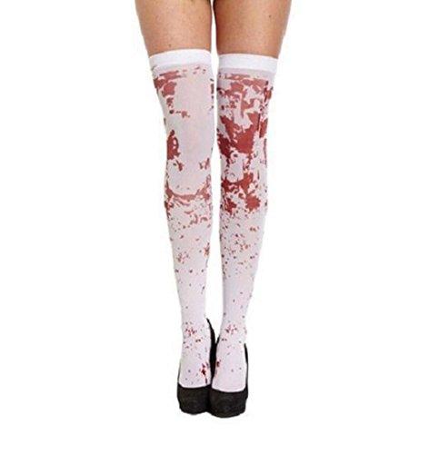 Halloween Blutig Overknees Strümpfe,ZEZKT Damen Mädchen Knie-Lange Knie Socken Feinstrumpfhose