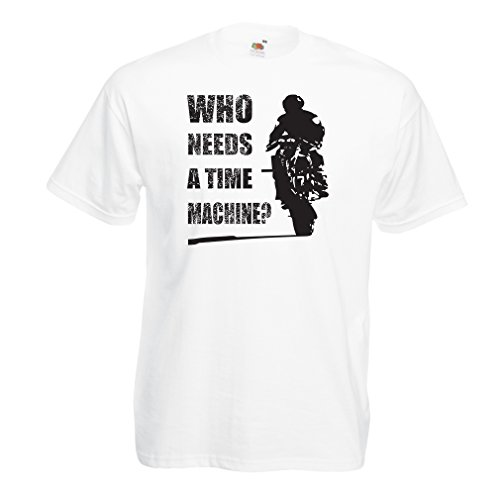 lepni.me T-Shirt da Uomo Abbigliamento Moto (Medium Bianco Multicolore)