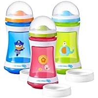Dos bebedor de etapa 24m + de Explora Tommee Tippee 400ml sin BPA Rosa diseño de pájaros tiene un conversor de taza abierto de bonificación