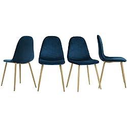 innovareds terciopelo para sillas de comedor Set de 4Vintage salón ocio silla wood-imitation Metal patas taburete azul marino