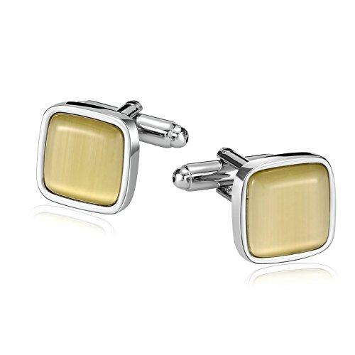 AMDXD Stainless Steel Jewelry Men Cufflinks Opal Yellow Square 1.4X1.4CM