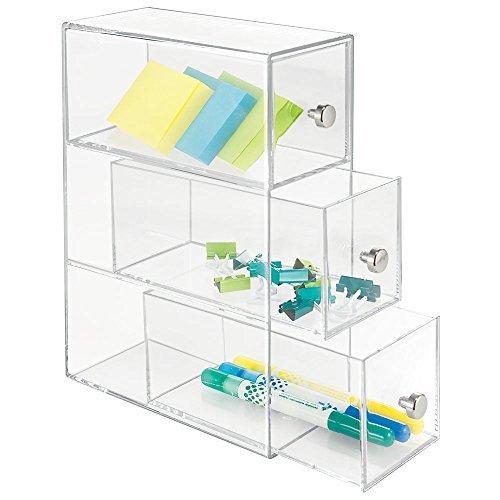 mDesign Schubladen Box – Farbe: Durchsichtig – Schreibtisch Organizer mit 3 drehbaren Schubladen – Praktisches Ordnungssystem Büro für einen aufgeräumten Arbeitsplatz