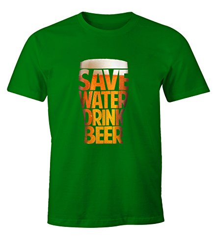 Herren T-Shirt - Save Water drink Beer - Spare Wasser trinke Bier - Moonworks Grün