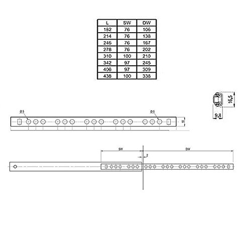 Mprofi 2 Stück (1 Parr) SCHUBLADENSCHIENEN Rollenauszug Teilauszug H: 17 / L: 214 mm V0311 - 5