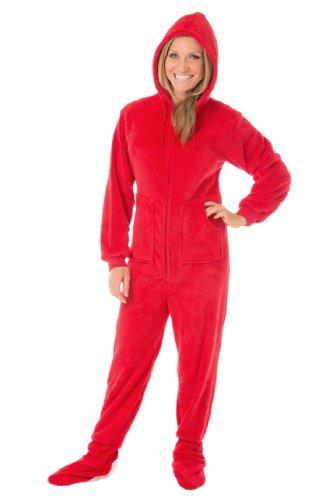 Big Feet Pyjama Co PJs Plüsch Hoodie Footed Schlafanzüge Mittel Rot (Pjs Footed Pyjamas)