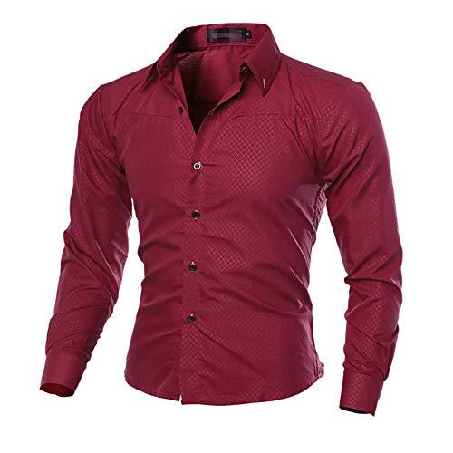 qulvyushangmaobu Herren Casual Formelles Button-Down-Shirt Slim Fit Langarm Langarm-Herren-Kragen Langarm-Freizeithemden Herren Regular Fit Herren-Freizeithemd Langarm