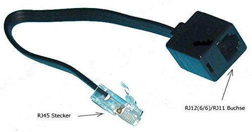 Kab24® Telefonkabel Modularkabel (0,2m, RJ12(6p6c) / RJ11 Buchse auf RJ45 Stecker) - Rj11-rj-45-buchse