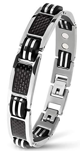 Lunavit Magnetschmuck Armband aus Titan mit Carbon für Herren, Silber, sportliches Powerarmband, längenverstellbar - Blutdruck-balance