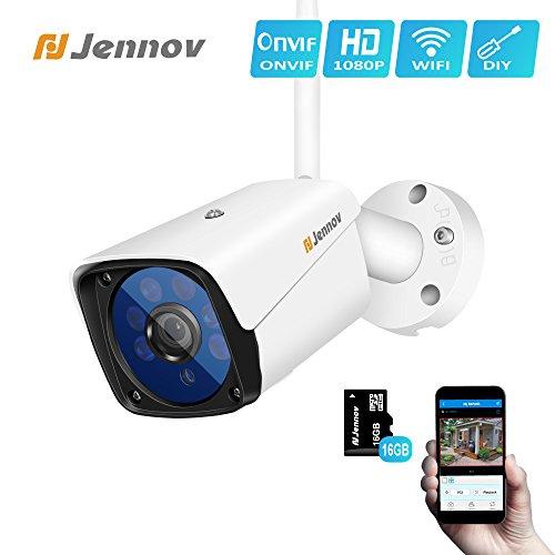 Überwachungskamera Aussen WLAN, Jennov Videoüberwachung Innen 1080P Full HD Ip Kamera Bewegungssensor Email Nachtsicht bis 128G SD Karte App Steuerung
