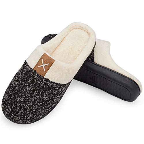 Welltree pantofole camera da letto morbide memory foam pantofole calde da bagno invernali antiscivolo nero grigio 42/43
