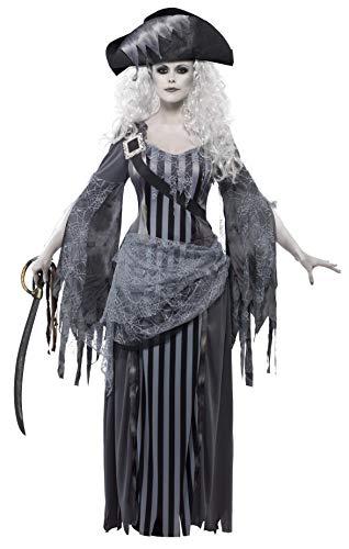Smiffy's Smiffys-22970S Disfraz de Princesa de Ghost Ship, con Vestido y Sombrero, Color Gris, S - EU Tamaño 36-38 22970S