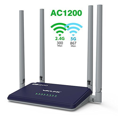 WAVLINK AC1200 Dual Banda Wi-Fi Router Inalámbrico Amplificador para Extensor de Alcance con 4x5dBi Alta Gain Antenas Externas con Smart App(Negro)