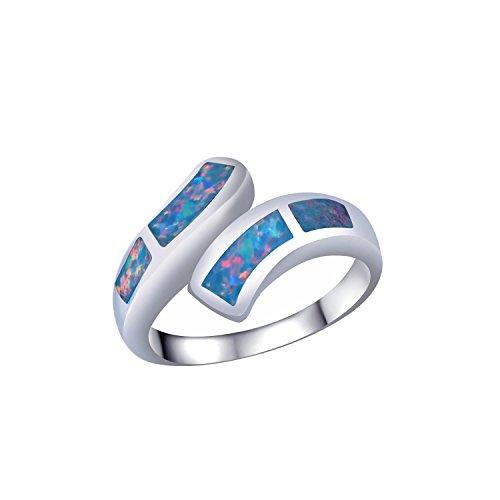 C QUAN CHI Geschaffen Mischen Farbe Opal Ring Inlay Silber Überzogen Band Ringe Handgefertigt Irregulär Gestalten Frau Ring,Größe 57 (18.1)