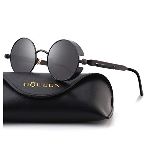 78b8d6ca41 GQUEEN Steampunk redonda Retro Metálico gafas de sol polarizadas para  hombres y mujeres con protección UV400