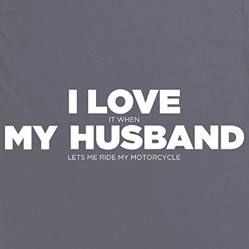 I Love My Motorcycle Hers T-Shirt, Damen Anthrazit