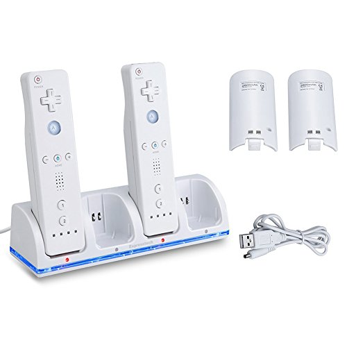 Expresstech @ Ladestation Ladegerät Docking Station mit 4 Akkus Batterien Batteriefachdeckel für Nintendo Wii Wii U Fernbedienung Wii-Fernbedienung Wiimotes Remote Controller - Weiß - Wii-akku-station