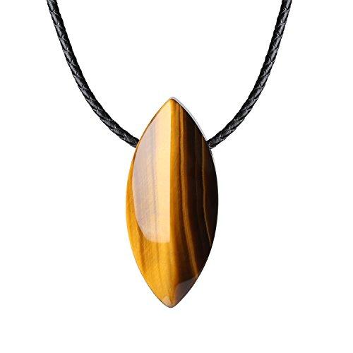 COAI® Collar con Colgante de Ojo de Tigre de Ojo de Caballo Forma de Cuerno con Cuerda de Cuero para Hombre