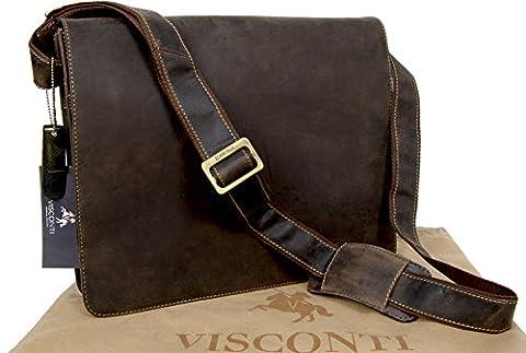 Visconti Leather Messenger Bag Workplace 18548 Harvard - Oil Brown (Mud)