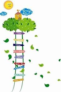 Topro Stickers toise enfants pour décoration d'intérieur Motif cabane dans arbre vert soleil Graduation de 90 à 170cm
