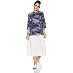 Myx Women's Straight Fit Cotton Kurta (NIT001CORE8A_Navy_XX-Large)