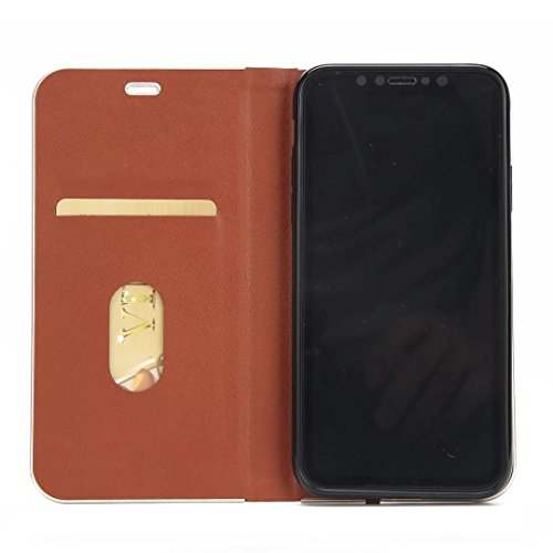 EKINHUI Case Cover Luxus schlanke magnetische Verschluss Muster Solid Color PU Leder Flip Folio Stand Fall Deckung mit Card Slot für iPhone X ( Color : Black ) Brown