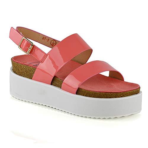 ESSEX GLAM Frauen Keilabsatz Sandalen Damen Riemchen Slingback Stämmige Plateau Schuhe (UK 8 / EU 41 / US 10, Koralle Kunst Lackleder) -