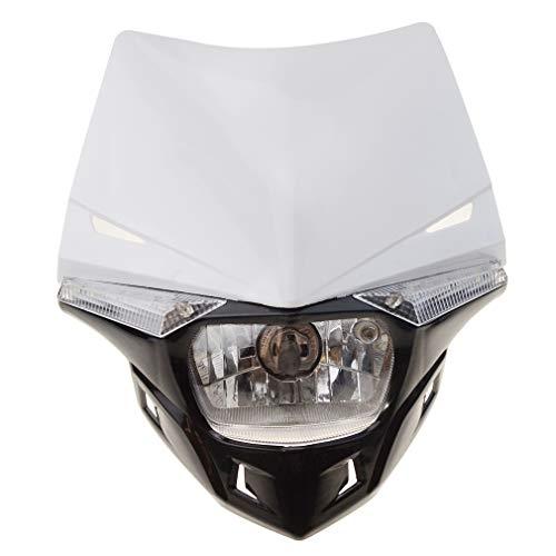 Preisvergleich Produktbild GOOFIT Weiß H4 12V 35W Scheinwerfer Frontscheinwerfer seitlichen Lampen Mini Blinker Blinkerleuchten Lichtmaske mit Front Verkleidung für Motorrad Motocross Supermoto Fahrrad Cafe Racer ATV Motorrad Dirt Bike Tasche Bike