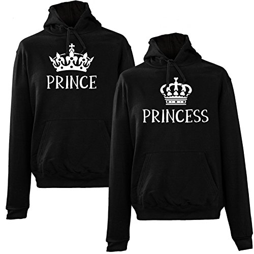 *FabShirts – Hoodie PRINCE PRINCESS Sweater Damen & Herren Sweat Pullover Schwarz Couple Partner, 1 Stück, Größe:L, Druck:PRINCE – 00162*