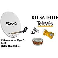 KIT ANTENA PARABOLICA PARA ASTRA TELEVES 60cm + ROLLO DE CABLE 20 mt + CONECTOES Y LNB