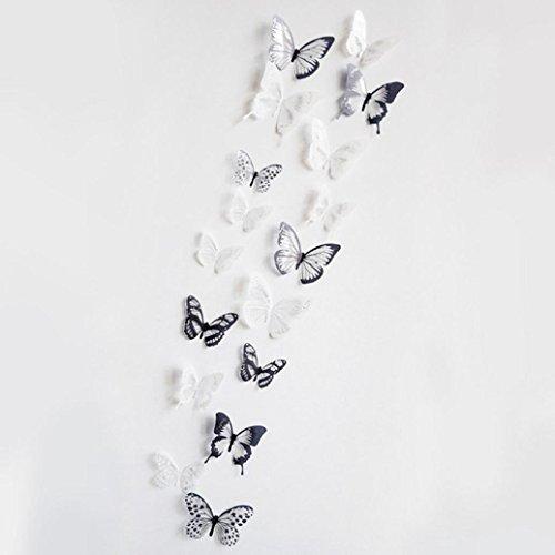 Keepwin 36 Stück 3D Schwarz Weiß Schmetterling Aufkleber Kunst Wandtattoo, Home Schöne Dekoration Aufkleber (Mehrfarbig)