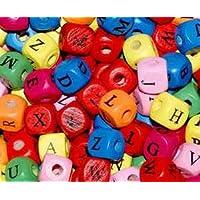 50 Colourful Wooden Random Mixed ALPHABET Cube Beads (10mm) + **FREE!! Elastic Beading Thread** -- GREAT CHRISTMAS STOCKING FILLER!! -- Children