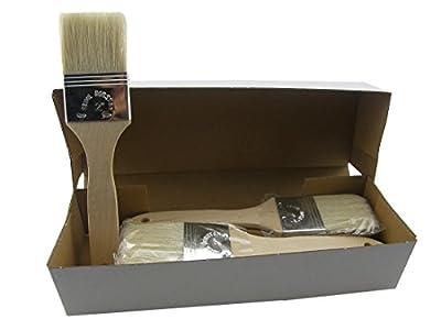 12 x Flachpinsel in Größe 50 mm, Import-Qualität, reine helle Borste, Holzstiel, Maler Pinsel, Lackierpinsel