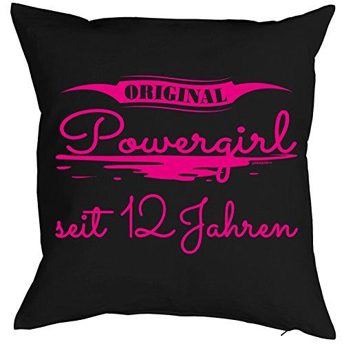 Geburtstagsgeschenk für Kinder Kissen mit Füllung Original Powergirl seit 12 Jahren Kindergeburtstag Polster Zierkissen 12 jähriges Kind für Kids