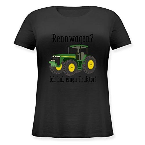 Landwirt - Rennwagen? Traktor! - M (46) - Schwarz - JHK601 - Lockeres Damen-Shirt in großen Größen mit Rundhalsausschnitt (Damen Shirt Traktor)
