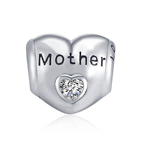 LONAGO Katze Charm 925 Sterling Silber Charms Gravur mit zwei Cat Schimmernde Herz Perlen Charm für Armband und Halskette (Mutter)