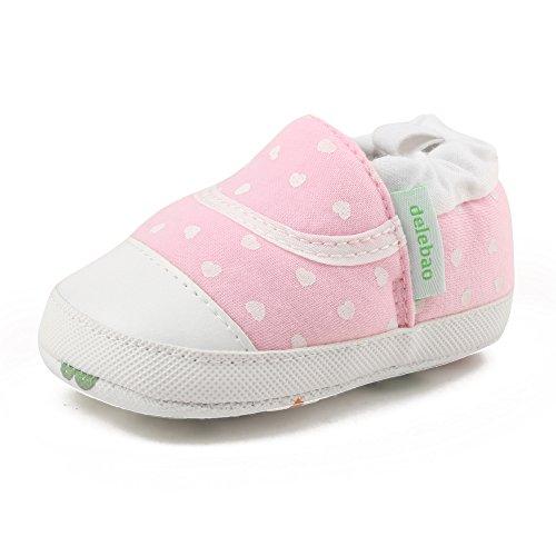 Delebao scarpe bimbo bebé primi passi unisex prima infanzia calzature neonato scarpe da ginnastica con suole morbide (rosa,12-18 mesi)