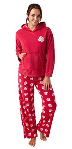 i-Smalls Damen Fleece Schlafanzug Hund oder Igel Aufdruck mit Kaputze Igel