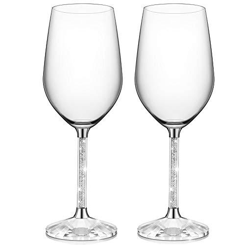 Ifolaina bicchieri da vino rosso set di 2 calici da 15 once senza piombo con gambo in cristallo lungo con diamante - regali di compleanno, anniversario o matrimonio
