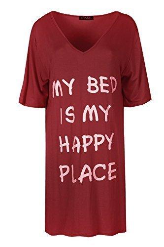 Be Jealous Damen Schlicht V Ausschnitt überdimensional My Bett Is My Happy Ort Schlabber PJ Kleid Uk Größe 8-26 Wein