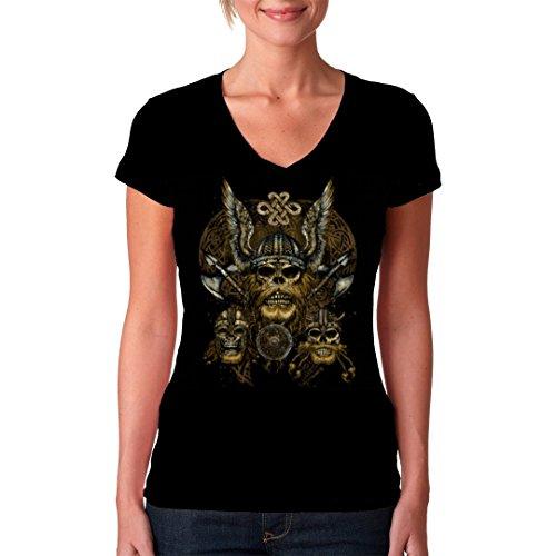 Gothic Fantasy Girlie VNeck Shirt Drei Wikinger Schädel by ImShirt Schwarz