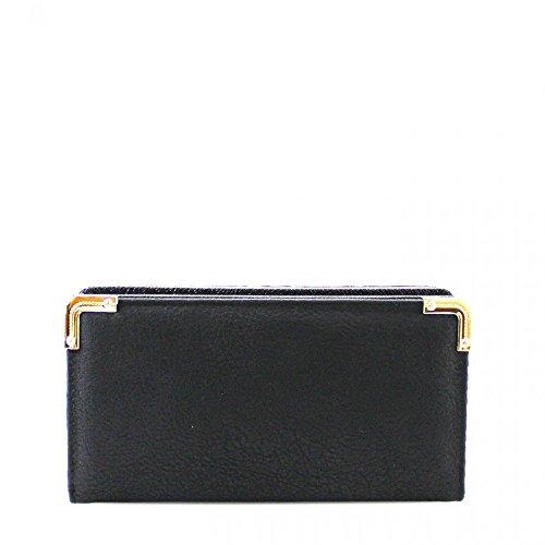 LeahWard® Damen Kunstleder Geldbörsen Groß Marke nett Brieftasche Geldbörse Tasche CW1608 Schwarz