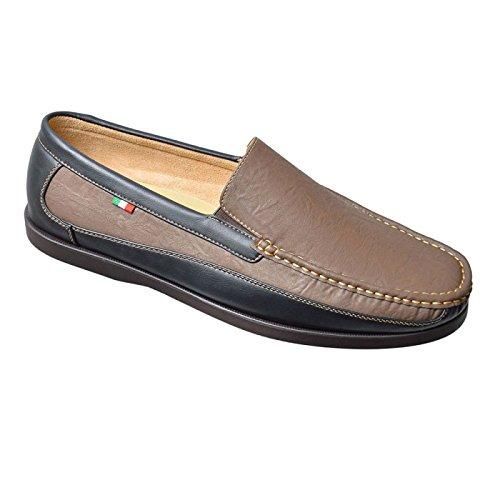 Da Uomo Duca D555 Grande Misura King Scarpe Slip On Design pelle sintetica Mocassino scarpe Marrone