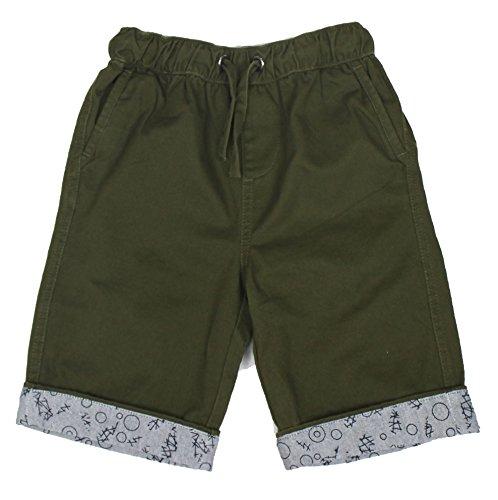 Bienzoe Jungen Baumwolle Köper Elastisch Taille Short Grün Größe 16 -