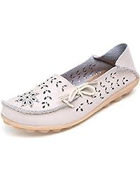 485aa5b40e Mujer Mocasines de Cuero Moda Loafers Casual Zapatos de Conducción Cómodos  Zapatillas del Barco