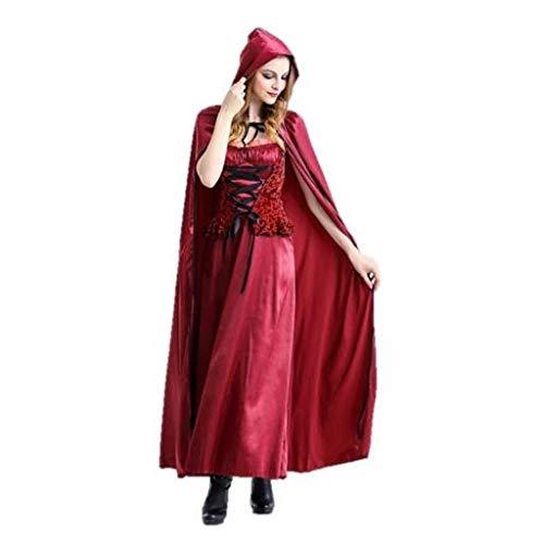 HWTOP Damen Kleid Stola Set Halloween Retro Partykleid Umschlagtücher Cosplay Rotkäppchen Nachtclub Königin Kostüm Vintage High Waist Langes Kleider, Rot
