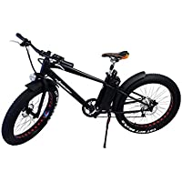 "Elektro FAT-BIKE 26"" / 66cm SCHWARZ MATT mit Shimano 6-Gang Elektrofahrrad Ebike Pedelec Elektro Mountainbike MTB Fahrrad Fat Tire Fette Räder"