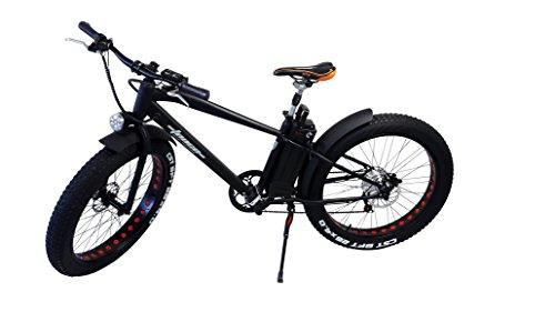 Elektro FAT-BIKE 26″ / 66cm SCHWARZ MATT mit Shimano 6-Gang Elektrofahrrad Ebike Pedelec Elektro Mountainbike MTB Fahrrad Fat Tire Fette Räder
